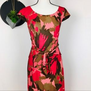 David Meister Red Floral tie front dress sz14